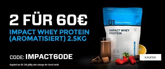 2 x 2,5kg aromatisiertes Impact Whey Protein Pulver für 60€ (ohne VSK) (MyProtein.de)