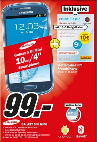 (Media Markt Lokal) Samsung Galaxy S3 Mini 99€ inkl. 10€ Fonic Startguthaben in 56564 Neuwied + 56070 koblenz KEIN Net-Lock / SIM-Lock