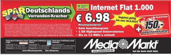 (Lokal) Internet Flat 1.000 für umgerechnet 73 CENT pro Monat Media Markt Lingen,Meppen und Papenburg