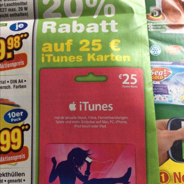 25 Euro iTunes Karte für 20 Euro @ Netto ohne Hund