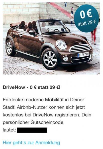 DriveNow kostenlose Registrierung via AirBnB Newsletter – personalisiert