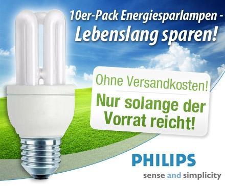 Dailydeal Produktdeal 10x gemixt Philips Energiesparlampen E27 11/14/18 Watt zu 17,99€