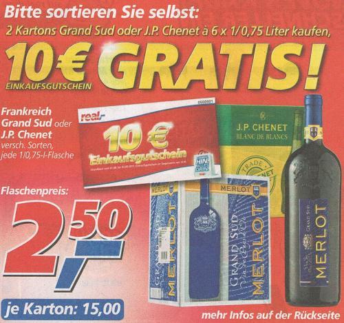Wein Grand Sud Merlot / J.P. Chenet im real,- für rechnerisch nur 1,67 Euro je Flasche - OFFLINE