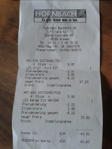 @Hornbach Bremen: Flair LED Lampe 2€ Erstattung bei Rückgabe einer alten Lampe