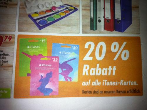 20% Rabatt auf iTunes-Karten / @Globus Köln