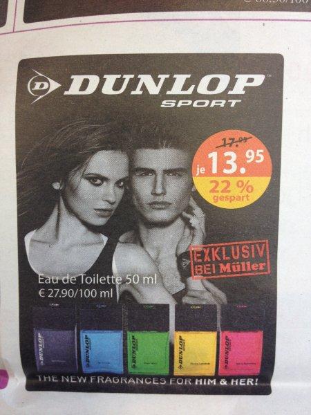 [Exklusiv bei Müller] 22 % Rabatt auf Dunlop Sport EdT's 50ml 13,95 € statt 17,95 €