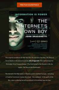 Gratis/Kostenlos: John Dragonetti - The Internet's Own Boy (Original Soundtrack) @ noisetrade.com