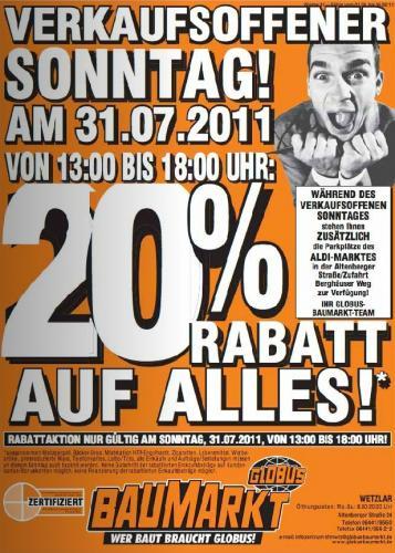 Globus Baumarkt 20% (Wetzlar) auf alles, nur morgen (Sonntag)
