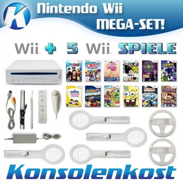 Wii - Konsole #weiß (inkl. 5 Spiele, Remote & viel Zubehör) (gebraucht)
