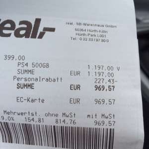 [Real] Playstation 4 500GB (ohne Spiele)