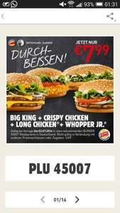 [Burger King] Spieltags Coupon: BigKing + Whopper Jr. + Crispy Chicken + LongChicken nur 7,99€