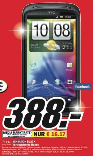 HTC  Sensation für 388€ bei Media Markt Baden Baden