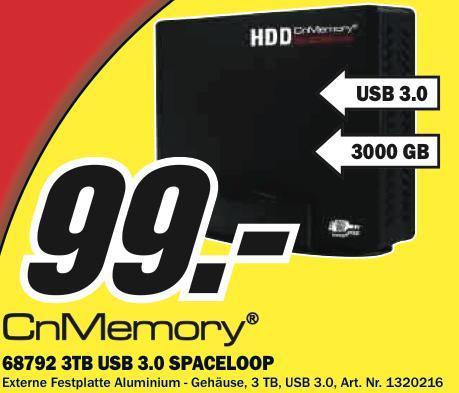 Cn Memory 3TB externe Festplatte für 99€ bei Media Markt Baden Baden