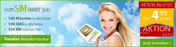 WinSIM Smart 300 für 4,95€ im Monat - 100 Minuten, 100 SMS, 300 MB Internet - 1 Monat MVZ monatlich kündbar