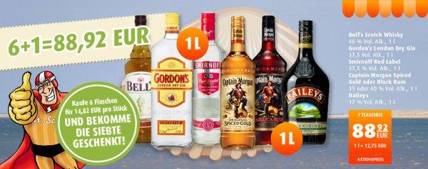 [scandinavian-park.com] 7,0Liter Captain Morgan Spiced Gold/Black, Baileys, Bells Scotch Whisky oder Smirnoff Red Label 78,21 EUR inkl. Versand (7,82 EUR pro 0,7 Flasche)
