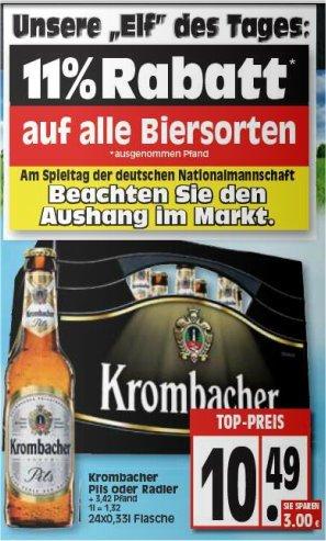 [EDEKA Nord?] Kiste Krombacher 10,49€, Freitag nur 9,34€ (Freitag 11% auf ALLE Biersorten)