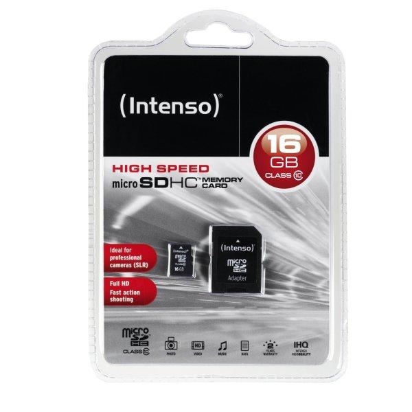 (Media Markt online) INTENSO Micro SDHC Card 16 GB Class 10 inkl. Adapter bei Abholung im Markt keine VK