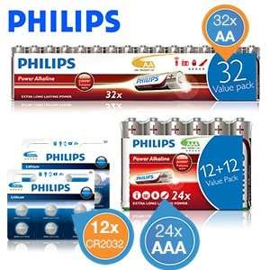 [iBood] Phillips Batterien (24 x AAA + 32 x AA + 12 CR2032)