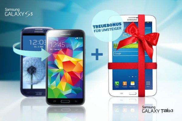 "Samsung Aktion ""GALAXY S3/S4/S4 Mini auf GALAXY S5 Upgrader"" & Samsung Tab 3 7.0 Lite Wi-Fi gratis"