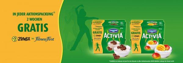 Zwei Wochen gratis Fitness First Gutschein auf ACTIVIA Packungen bei REWE