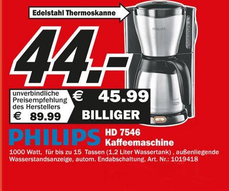 Kaffeemaschine von Philips bei Media Markt zum Bestpreis von jetzt 44€
