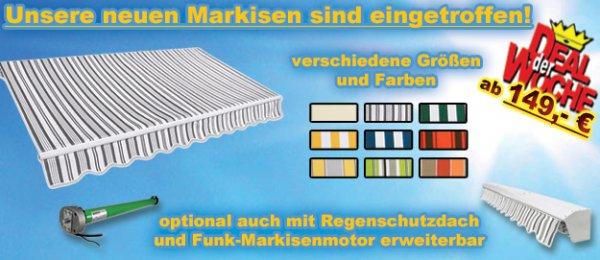 Gelenkarm-Markisen in verschieden Ausführungen ab 149,- € zzgl. Versandkosten!