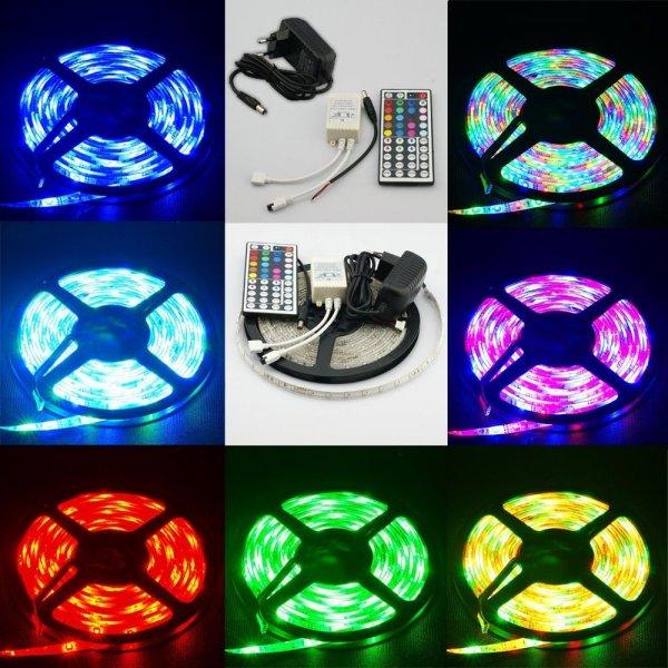 5m LED Strip Komplettpaket: 3528er SMD, 44key Controller, 2A Netzteil, IP65 für 13,18€