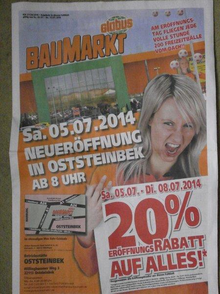 [LOKAL-Globus-Oststeinbek] 20 % auf Alles - Eröffnungsangebot, KFZ Verbandskasten 3,00 €
