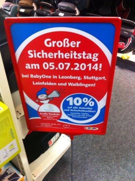[LOKAL - BabyOne - Stuttgart, Leonberg, Leinfelden, Waiblingen] 10% auf Autositze + Sicherheitsartikel NUR am SA 5. Juli