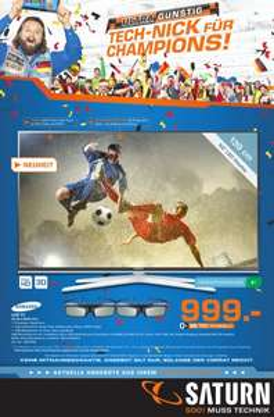 [Saturn Bielefeld] Samsung UE55H6600 139 cm (55 Zoll) 3D , EEK A+ (Full HD, 400Hz CMR, 2x DVB-T/C/S2, 2x CI+, WLAN, Smart TV, Sprachsteuerung) 999€