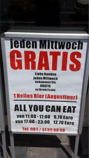 Sushi München- - All you cant Eat für 9,70 & ein Augustiner Kostenlos dazu