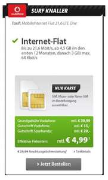 [Sparhandy/One.de] Vodafone LTE Internet Flat 3GB 21,6 Mbit/s ---> 4,99€