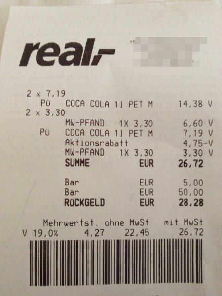 [Lokal Düsseldorf] Real - Coca Cola Kasten 12*1l für 5,61