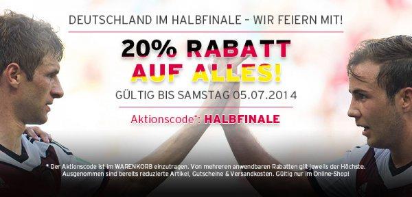 Nur heute 20% auf alles im Onlineshop des FC Bayern München