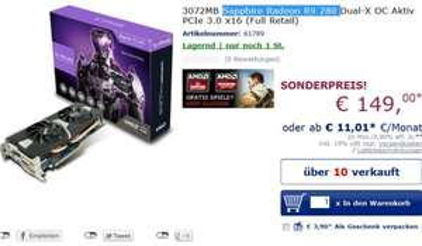 Mindfactory - Mindstar : XFX Radeon R9 280 & Sapphire Radeon R9 280