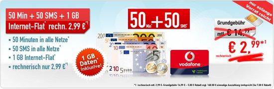 Vodafone Smart Surf für effektiv 2,99€ pro Monat – 50 Freiminuten/Frei-SMS, 1GB Datenvolumen