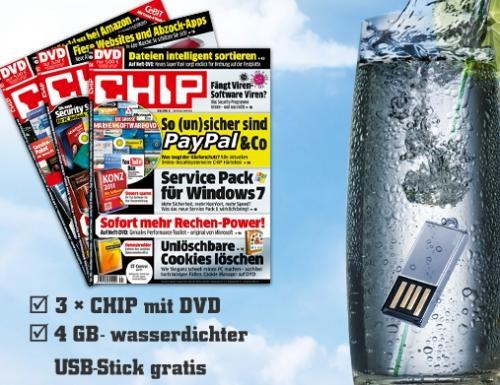 4 GB USB Stick wasserdicht + 3 mal die CHIP mit DVD für 11,90€
