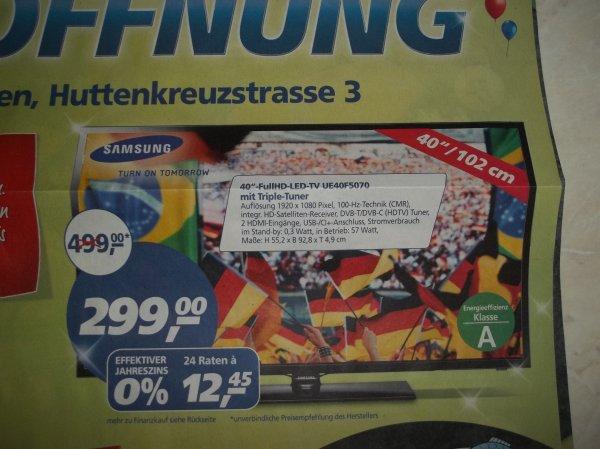 """[lokal Ettlingen] Samsung 40""""-FullHD-LED-TV UE40F5070 Preisvergleich 358.59€ @real"""