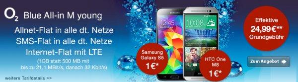 [@Logitel] O2 JungeLeute AllnetFlat + SMSFlat + 1GBFlat (21,1MBit/s) + Festnetznummer für 24,99€ + GRATIS Samsung S5 oder HTC One M8