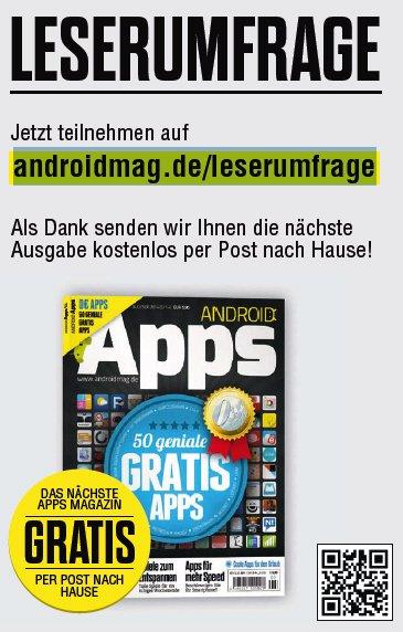 1 Android Apps Magazin kostenlos für kleine Umfrage