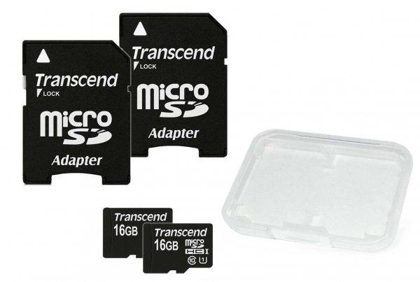 2 Stück Transcend Class 10 UHS-I micro-SDHC 16GB Speicherkarte mit SD-Adapter (45MB/s Lesegeschwindigkeit) @amazon Blitzangebot 15,99€
