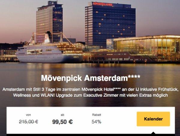 2 Nächte im Mövenpick Hotel Amsterdam (gutes Hotel) für 199€ für 2 Personen (99,50€ pP) @Travelbird