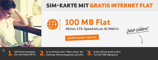 Gratis 100 MB LTE Internetflat Simyo Werbefinanziert (alternative zu Netzclub)