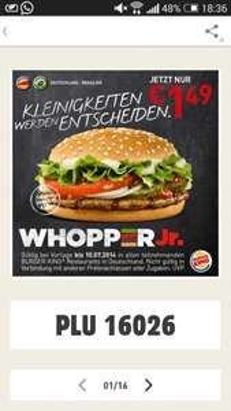 [Burger King] Whopper jr nur 1,49€