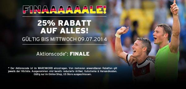 25 % auf alles im FC Bayern Online-Shop bis zum 09.07.2014