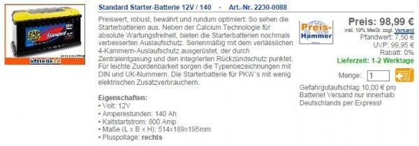 [kfzteile24] PKW LKW WoMo Starter-Batterie oder als Solar & Camping Akku 12V 140Ah