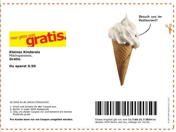 [Lokal: BERLIN] Gratis Kinder-Eis (Milchspeiseeis) bei Berliner IKEA-Filialen mit Online-Coupon (11.07.-31.07.)