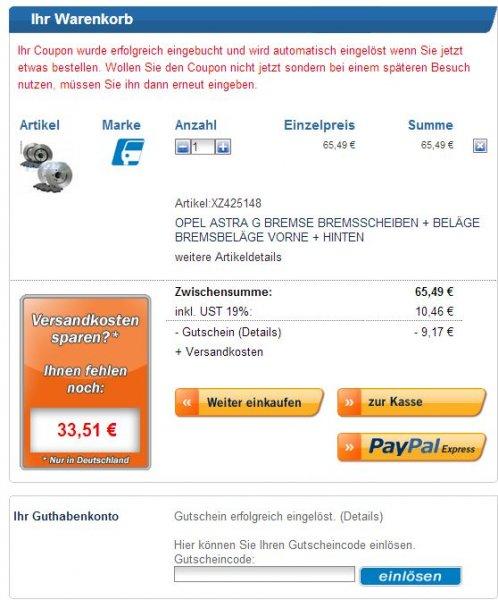 14% Rabatt auf alles (Autoteile + Zubehör wie Sonax) auf www.lott.de