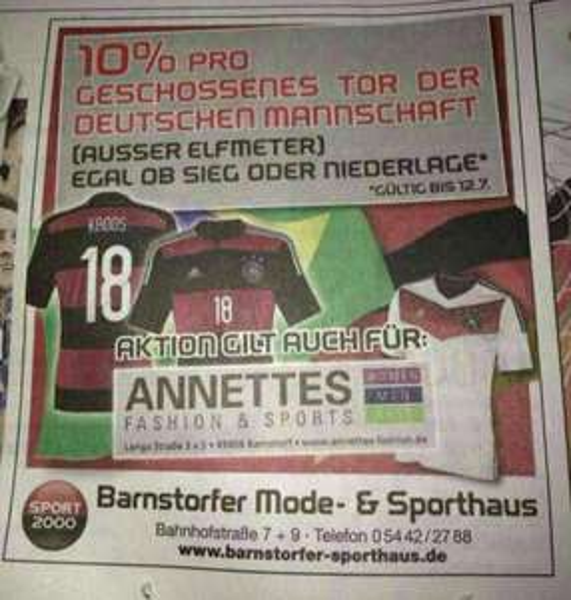 (Lokal) 10% Rabatt für jedes geschossene Tor der deutschen Mannschaft gegen Brasilien beim Sporthaus Barnstorf (Sport 2000)
