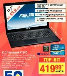"""[Metro] Asus F75VC - 17,3"""" Notebook mit 8 GB RAM, 1 TB HDD, intel Core i3,... für 499,79 €"""